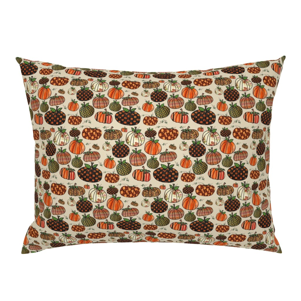 Campine Pillow Sham featuring Fall Things: Pumpkins on Cappuccino Cream by bohobear