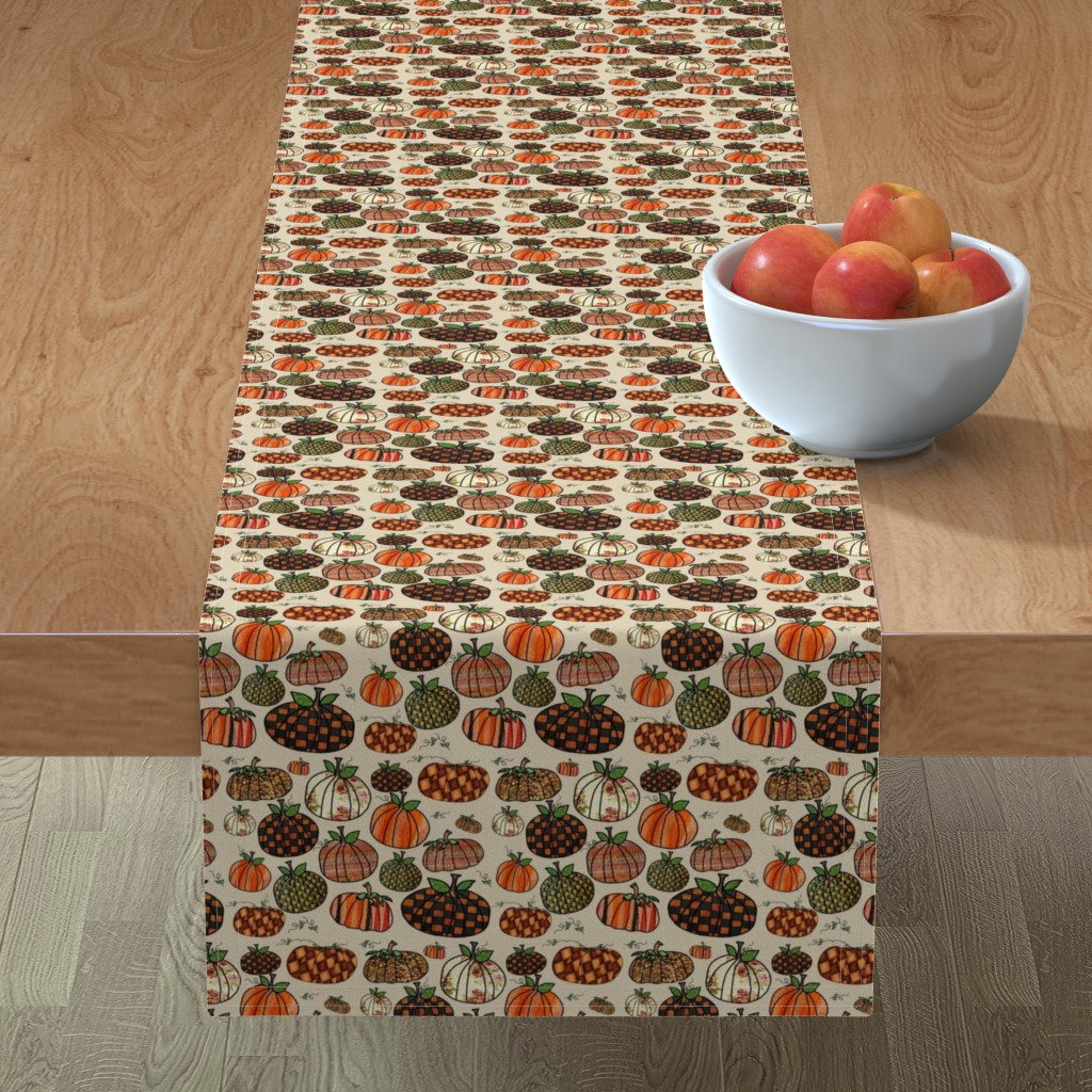 Minorca Table Runner featuring Fall Things: Pumpkins on Cappuccino Cream by bohobear