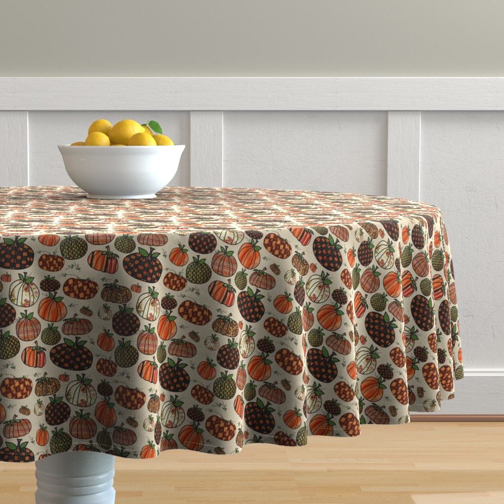 Malay Round Tablecloth featuring Fall Things: Pumpkins on Cappuccino Cream by bohobear