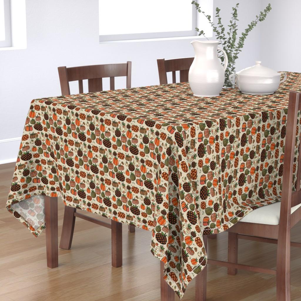 Bantam Rectangular Tablecloth featuring Fall Things: Pumpkins on Cappuccino Cream by bohobear