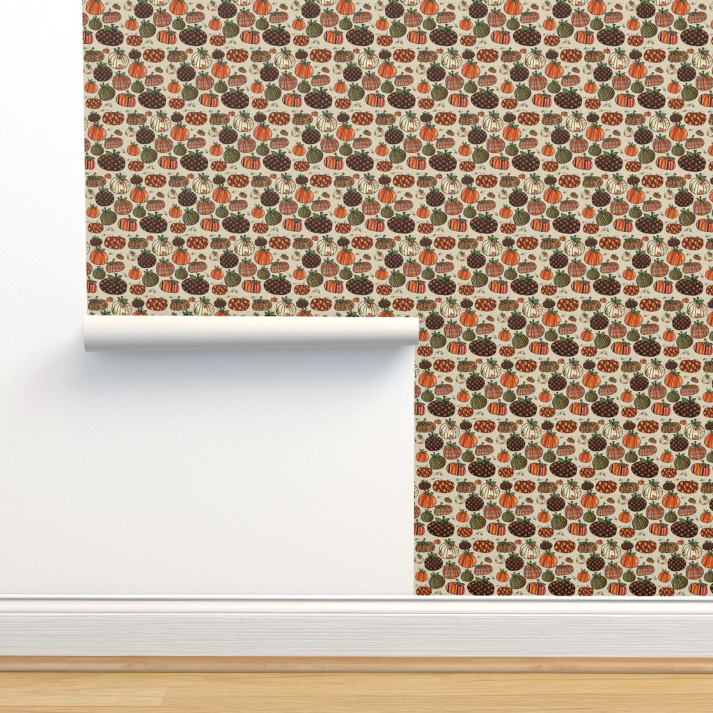 Isobar Durable Wallpaper featuring Fall Things: Pumpkins on Cappuccino Cream by bohobear