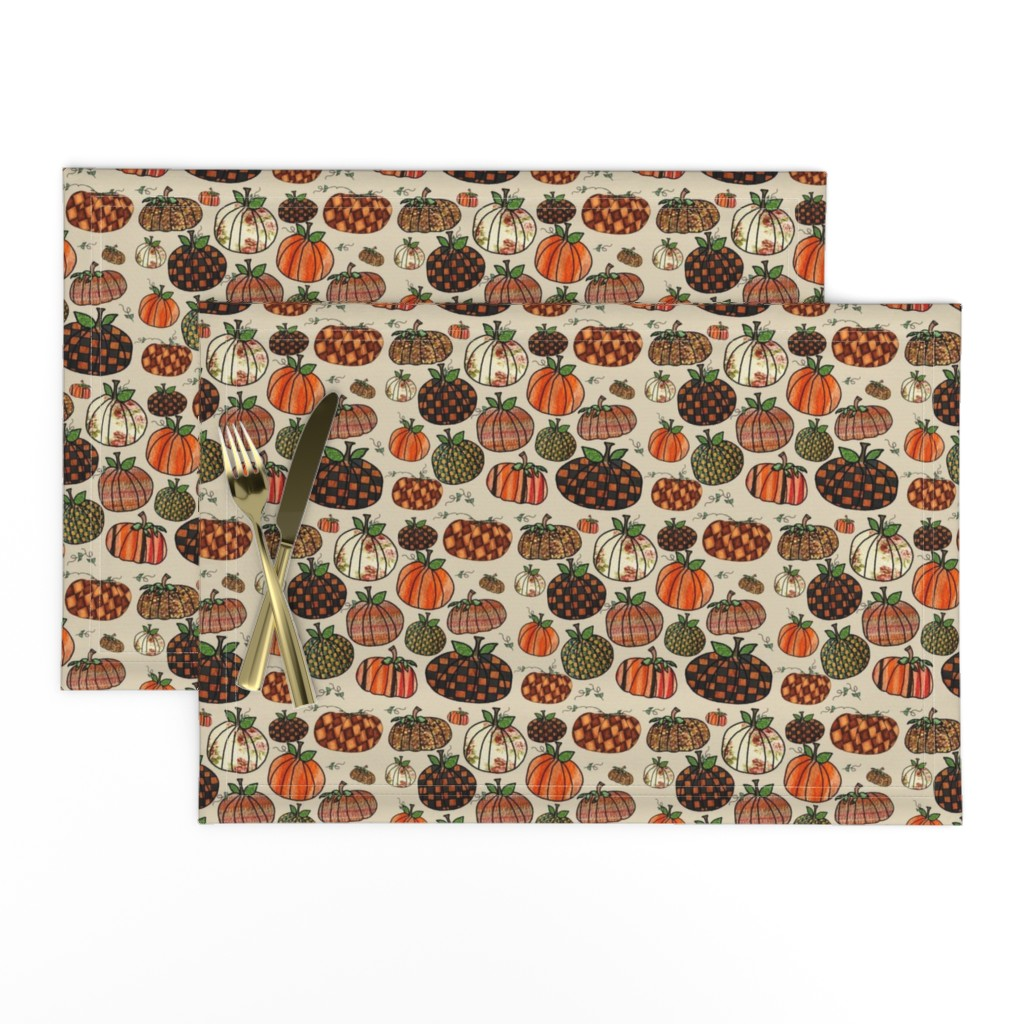 Lamona Cloth Placemats featuring Fall Things: Pumpkins on Cappuccino Cream by bohobear
