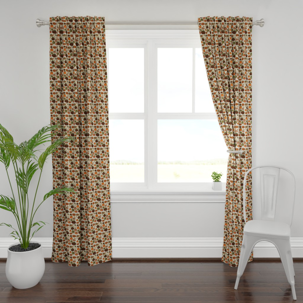 Plymouth Curtain Panel featuring Fall Things: Pumpkins on Cappuccino Cream by bohobear