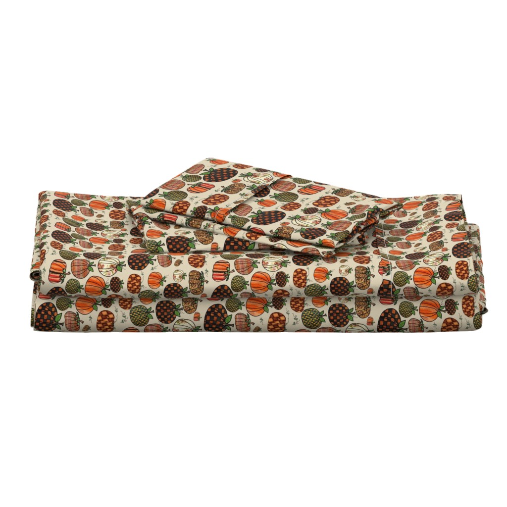 Langshan Full Bed Set featuring Fall Things: Pumpkins on Cappuccino Cream by bohobear