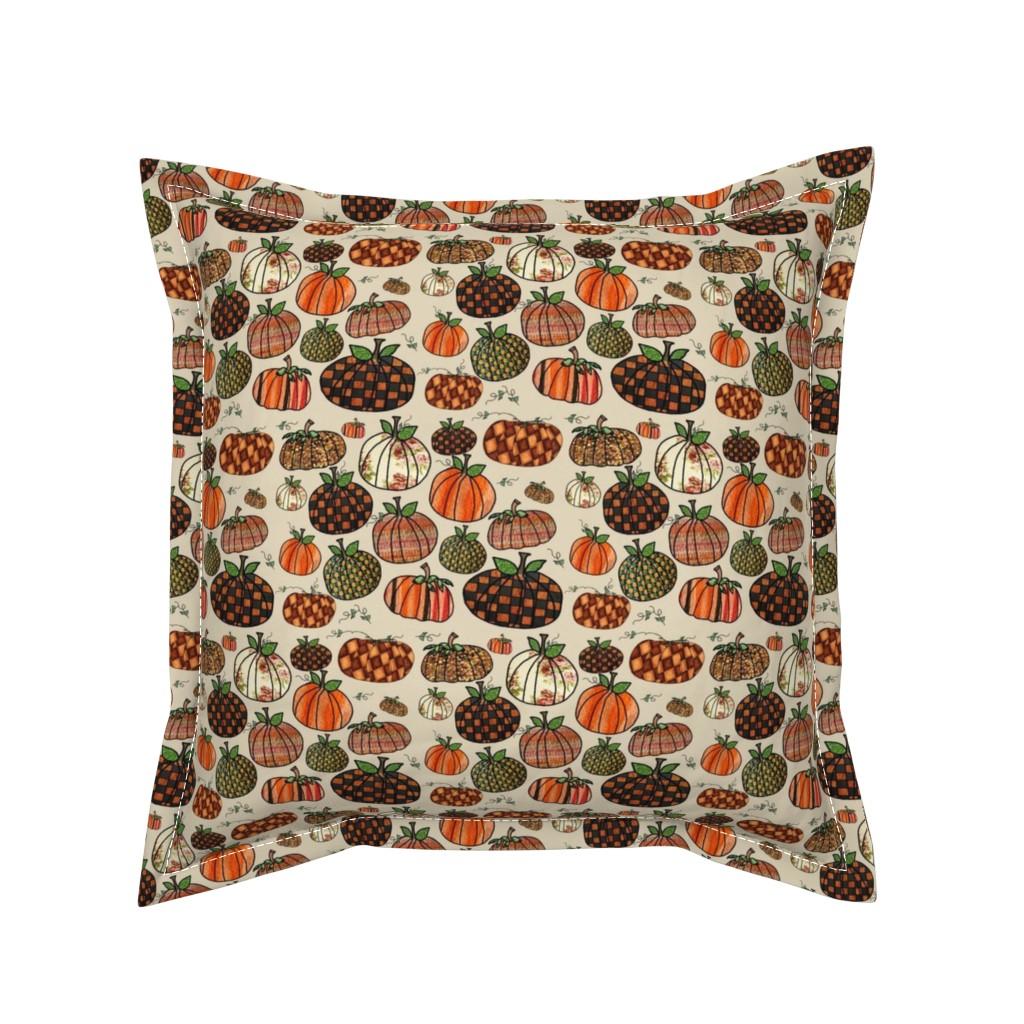 Serama Throw Pillow featuring Fall Things: Pumpkins on Cappuccino Cream by bohobear