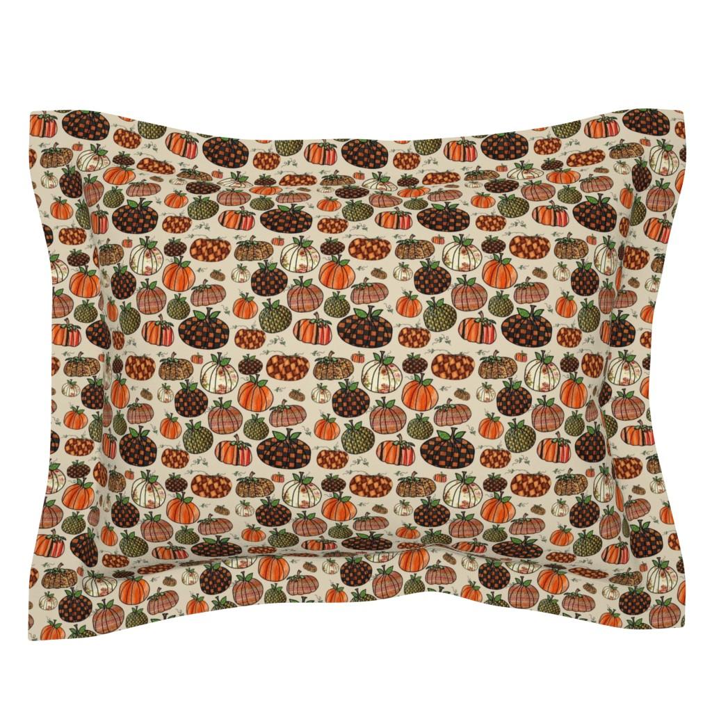 Sebright Pillow Sham featuring Fall Things: Pumpkins on Cappuccino Cream by bohobear