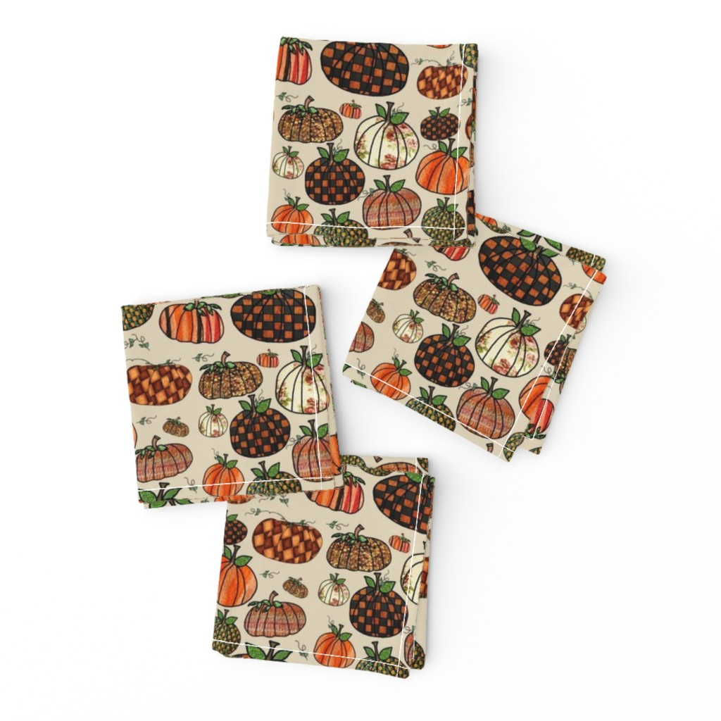 Frizzle Cocktail Napkins featuring Fall Things: Pumpkins on Cappuccino Cream by bohobear