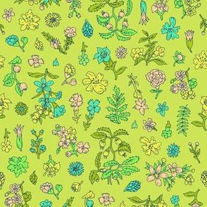 Exploded Flower Garden   Bright Green