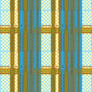 Cyan and Yellow Stripes and Dots
