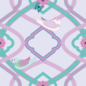 Pastel Trellis with Birds and Butterflies