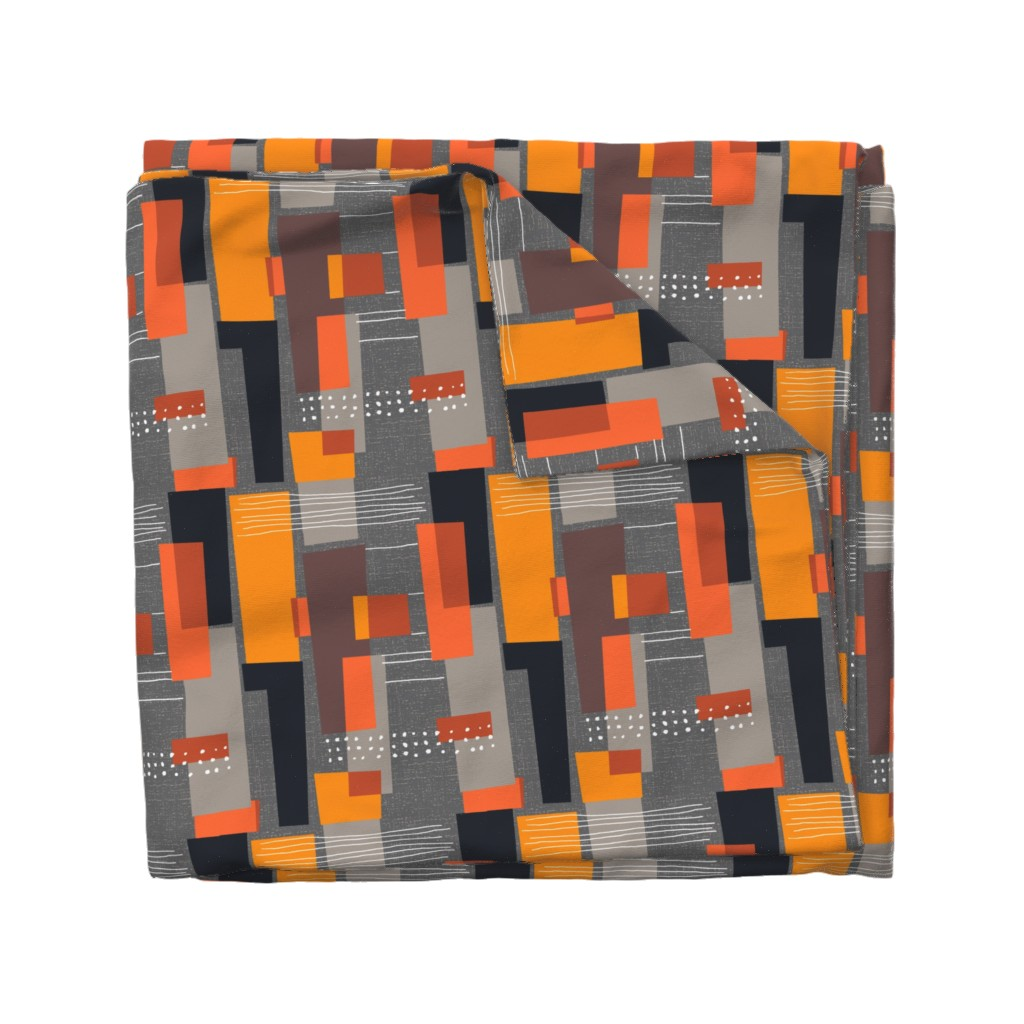 Wyandotte Duvet Cover featuring Marks and Color Blocks /04 by elizabeth_hale_design