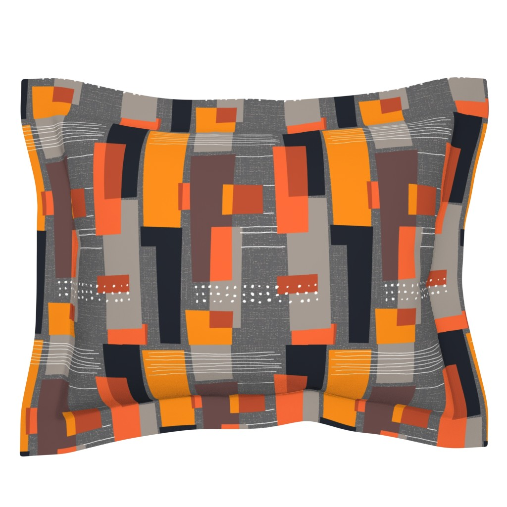 Sebright Pillow Sham featuring Marks and Color Blocks /04 by elizabeth_hale_design