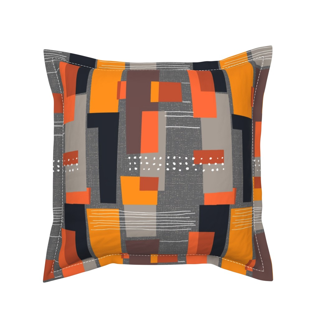 Serama Throw Pillow featuring Marks and Color Blocks /04 by elizabeth_hale_design