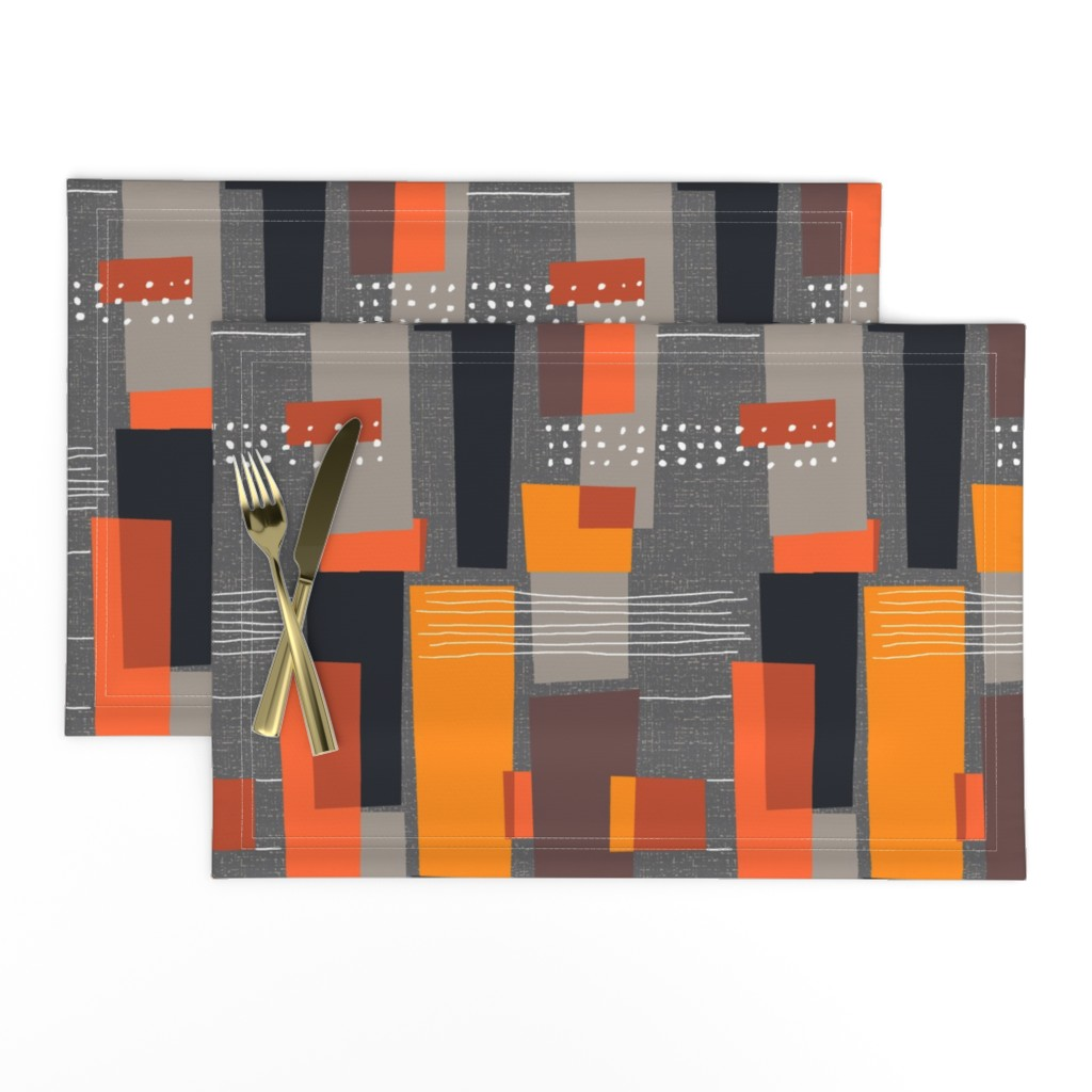 Lamona Cloth Placemats featuring Marks and Color Blocks /04 by elizabeth_hale_design