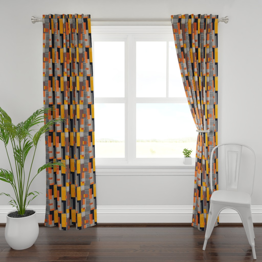 Plymouth Curtain Panel featuring Marks and Color Blocks /04 by elizabeth_hale_design