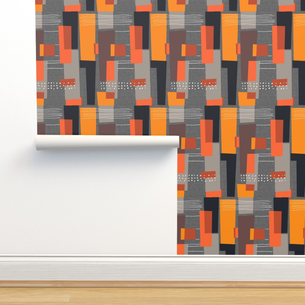 Isobar Durable Wallpaper featuring Marks and Color Blocks /04 by elizabeth_hale_design