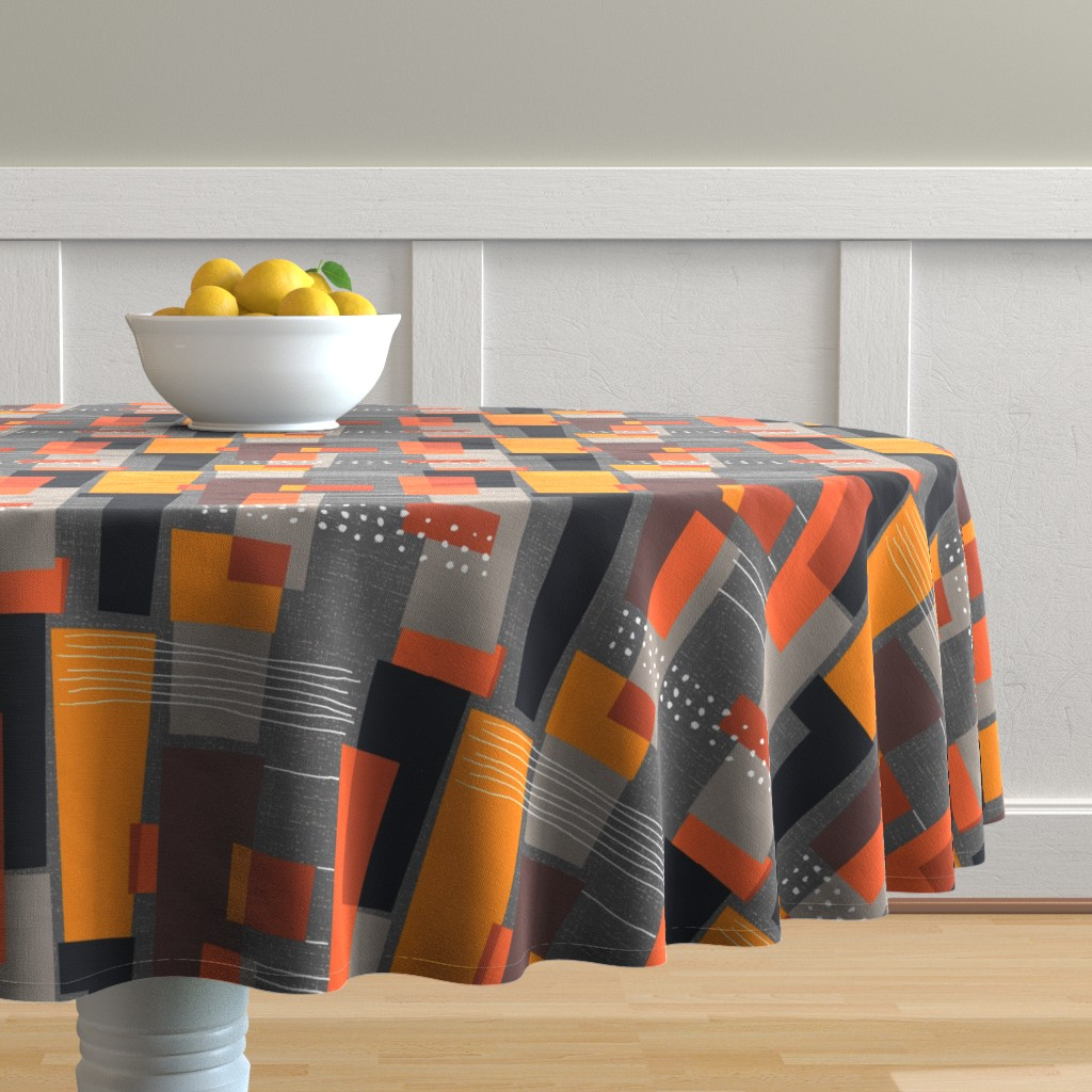 Malay Round Tablecloth featuring Marks and Color Blocks /04 by elizabeth_hale_design