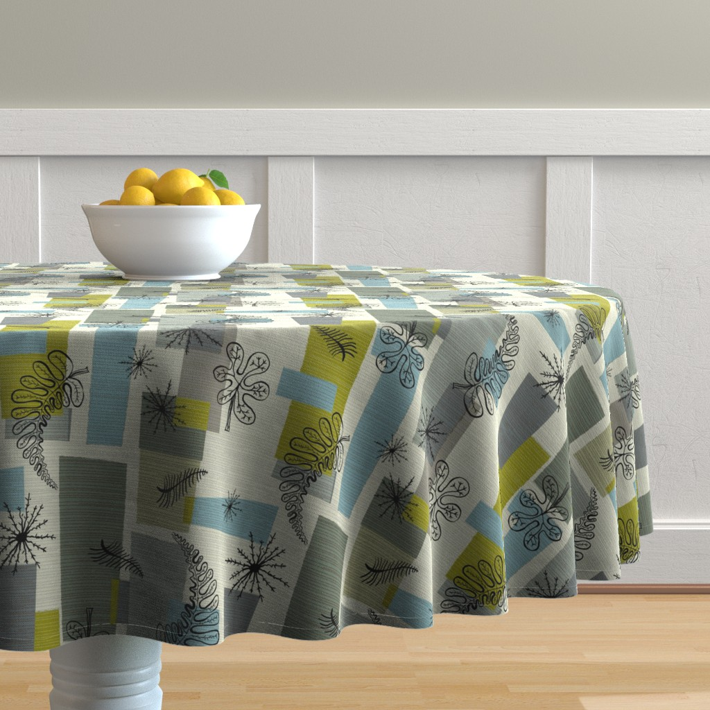 Malay Round Tablecloth featuring 50s Floral /01 by elizabeth_hale_design