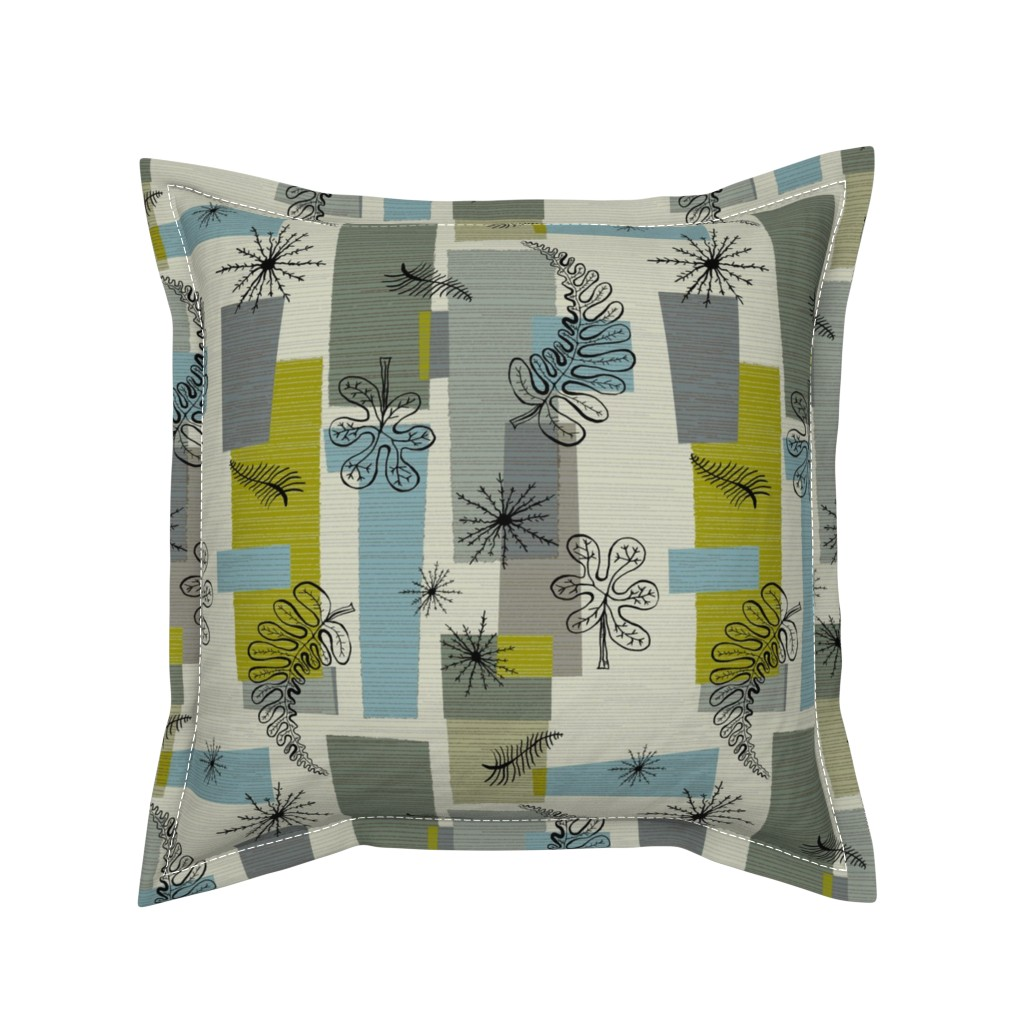 Serama Throw Pillow featuring 50s Floral /01 by elizabeth_hale_design