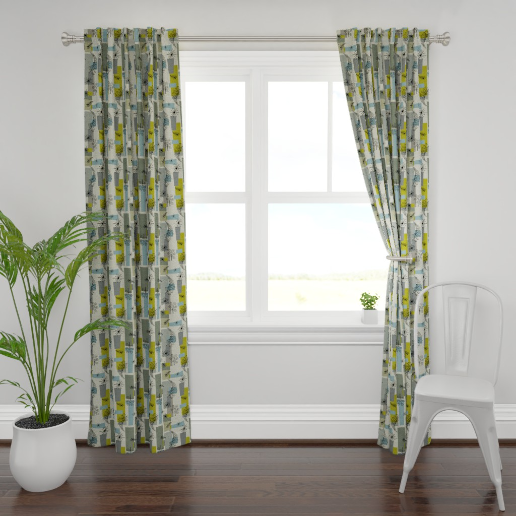 Plymouth Curtain Panel featuring 50s Floral /01 by elizabeth_hale_design
