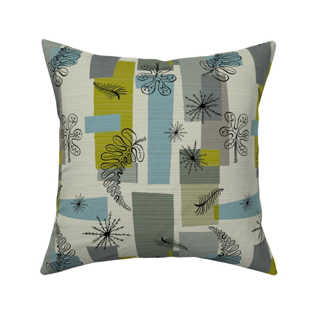 Catalan Throw Pillow featuring 50s Floral /01 by elizabeth_hale_design