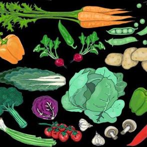 Vegetable Garden On Black