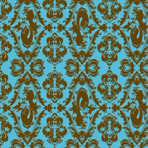 Mermaid Damask in Blue and Brown
