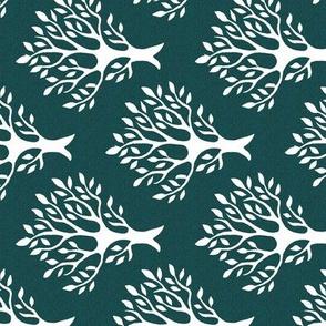 Tree-stamp-fabric1 - Linen teatowel - white-DK-BLUEGREEN- rotated