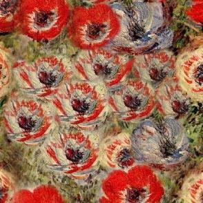 Monet Red Cream Anemones Floral