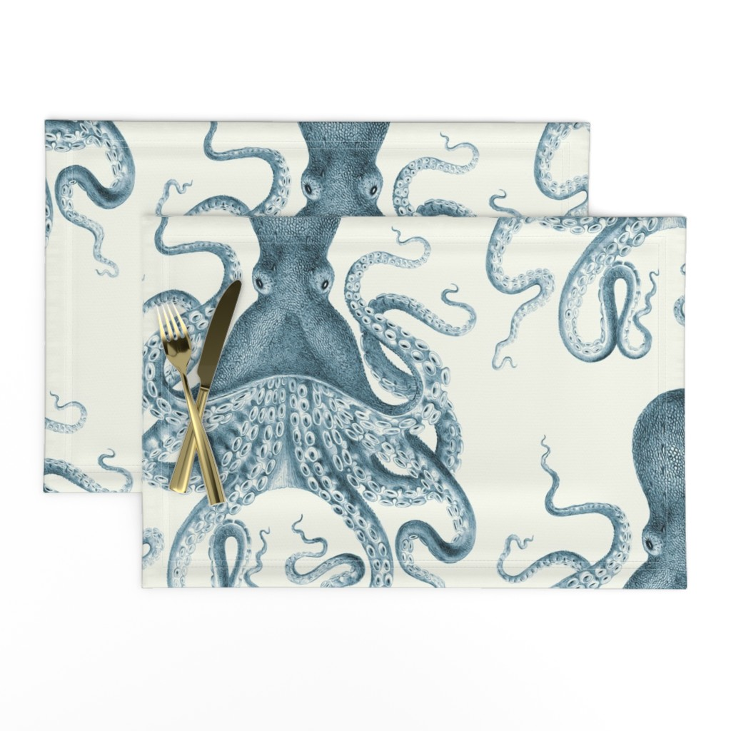 Lamona Cloth Placemats featuring Octopus Oasis in Sea by willowlanetextiles