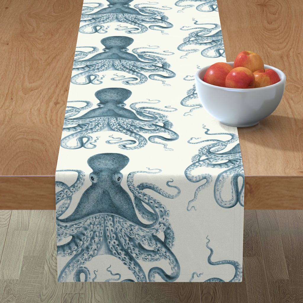 Minorca Table Runner featuring Octopus Oasis in Sea by willowlanetextiles