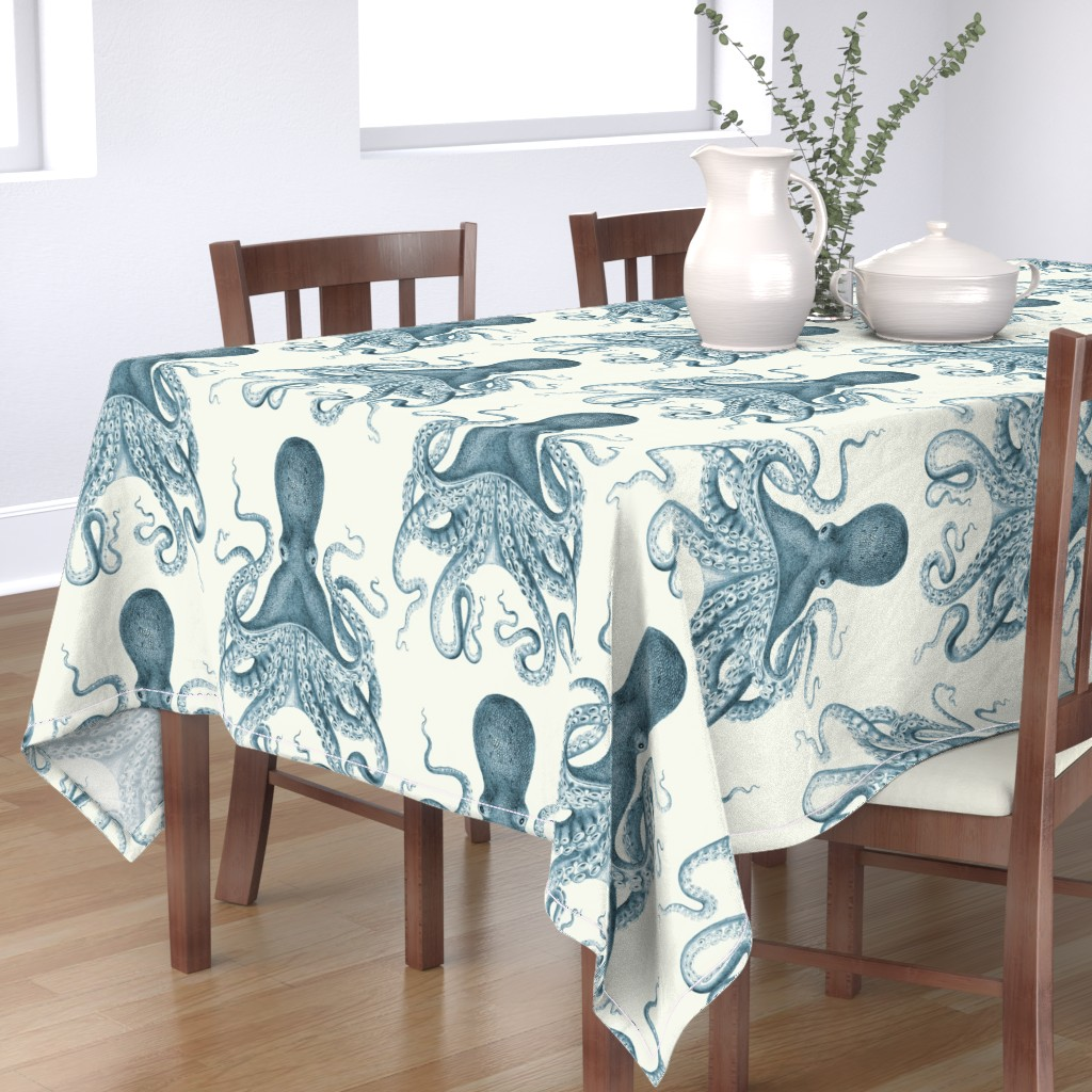 Bantam Rectangular Tablecloth featuring Octopus Oasis in Sea by willowlanetextiles