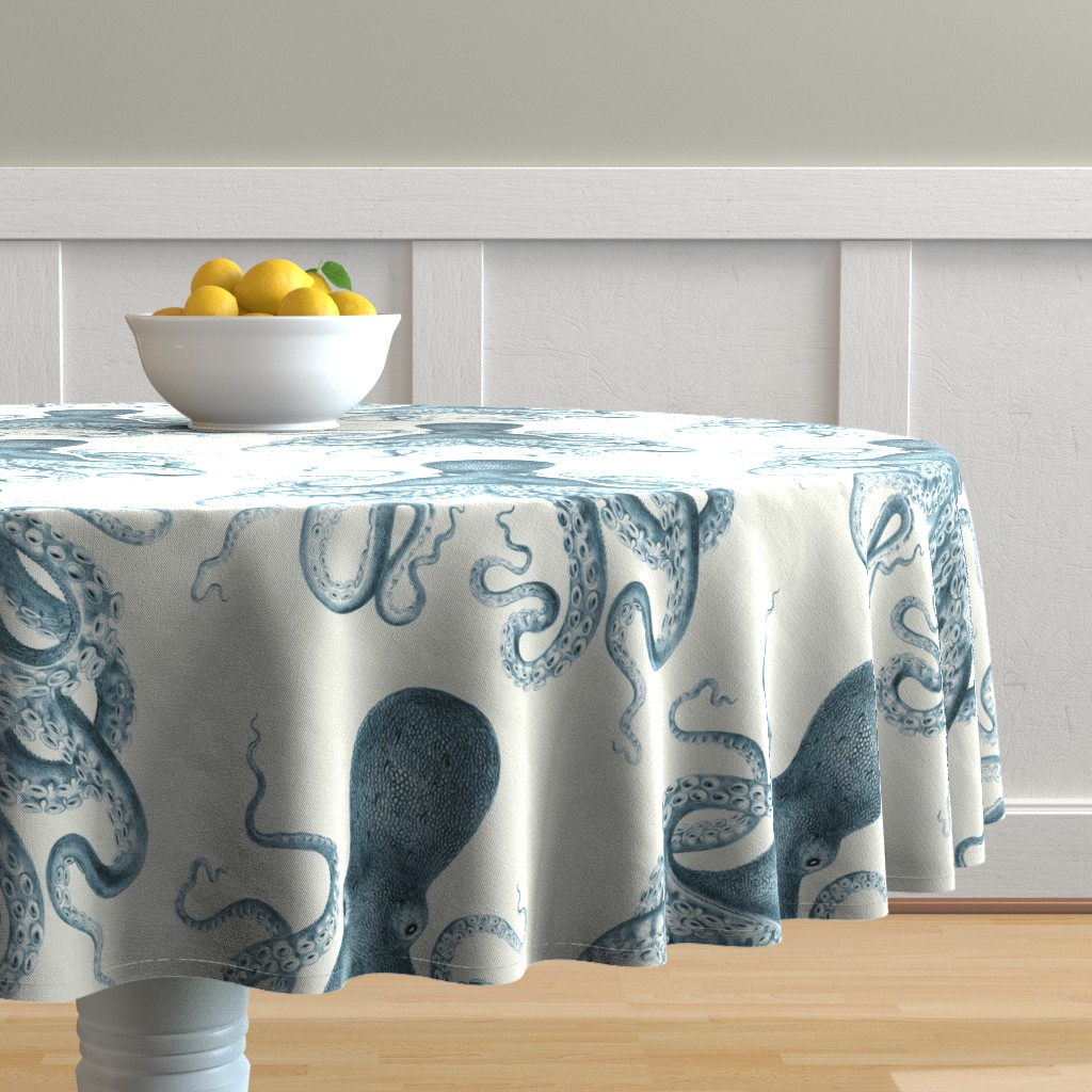 Malay Round Tablecloth featuring Octopus Oasis in Sea by willowlanetextiles