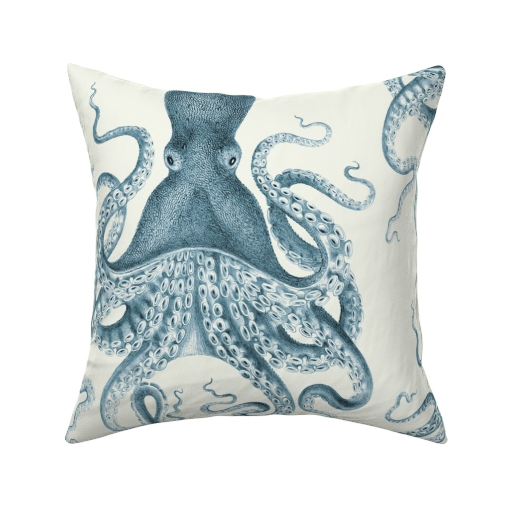 Catalan Throw Pillow featuring Octopus Oasis in Sea by willowlanetextiles