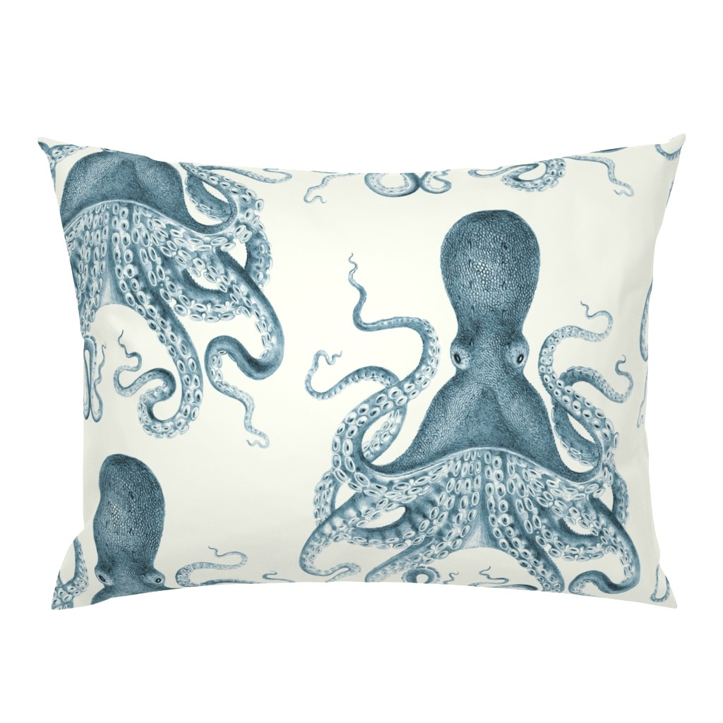 Campine Pillow Sham featuring Octopus Oasis in Sea by willowlanetextiles