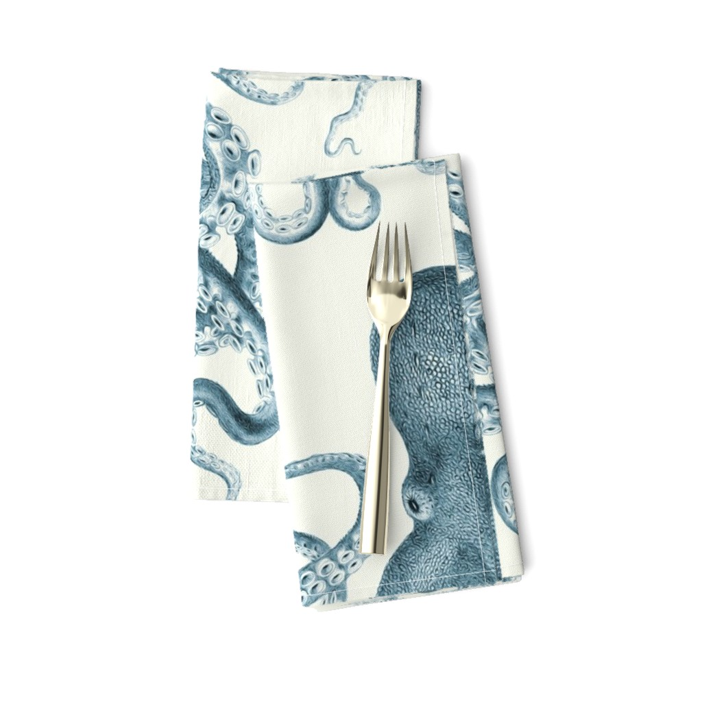 Amarela Dinner Napkins featuring Octopus Oasis in Sea by willowlanetextiles
