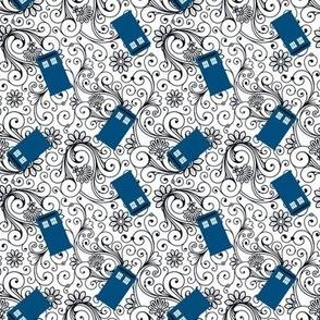 Blue Phone Boxes and Black Swirls on White - Small Swirls