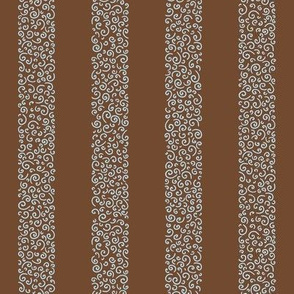 ammonite stripes - sky blue on brown