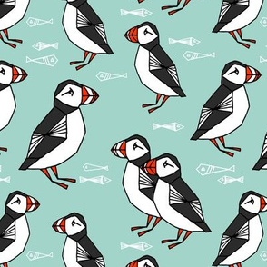 puffin // mint birds nautical scottish birds birdwatching puffin fabric