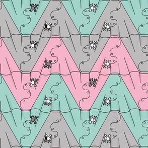 poodle skirt tessellation chevron (pink