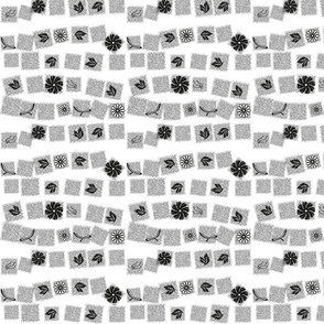 Black and White Retro Flowers © Gingezel™ 2014