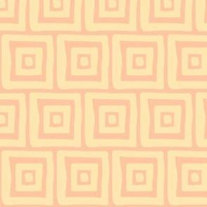 Retro Wonky Square (sunshine, tangerine)