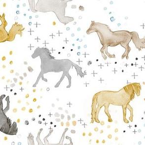 Watercolor Horses in Brown