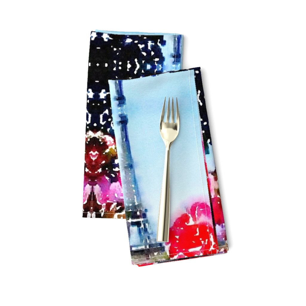 Amarela Dinner Napkins featuring Fuchsia Flowers and the Eiffel Tower Watercolor by the_artwerks
