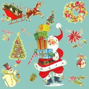 Ho Ho Happy vintage Christmas Santa Marina
