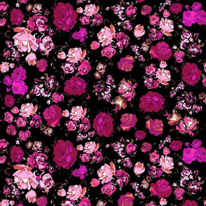 Antique Inspired Floral in Hot Pink and Magenta on Black