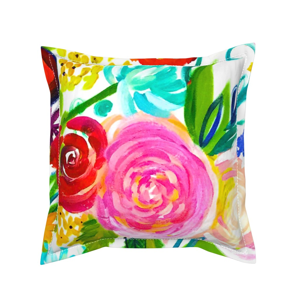"""Serama Throw Pillow featuring Neon Summer Floral (Extra Large Size 54"""" Repeat)  by theartwerks"""