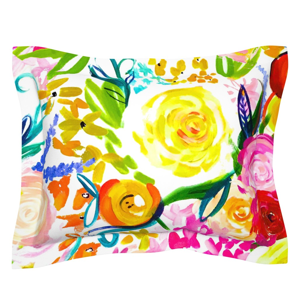 "Sebright Pillow Sham featuring Neon Summer Floral (Extra Large Size 54"" Repeat)  by theartwerks"