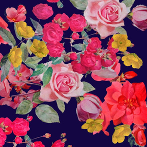 Antique Floral LARGE print // NAVY