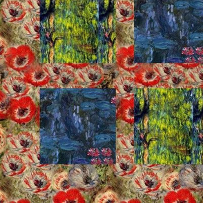 Monet Nympheus Anemone Weeping Willow Cheater Patchwork Quilt